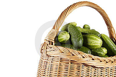 Cucumber on basket