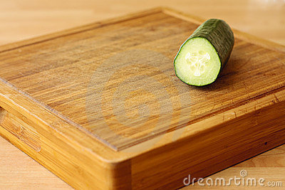 Cucumber on chopping board