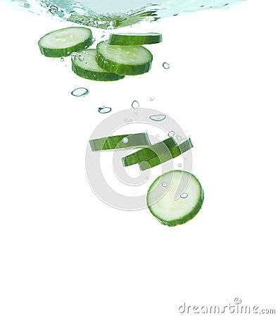 Cucumber in clear water