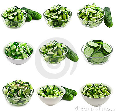Cucumber salad collage