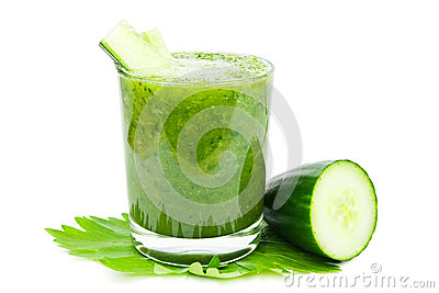 Cucumber smoothie on white