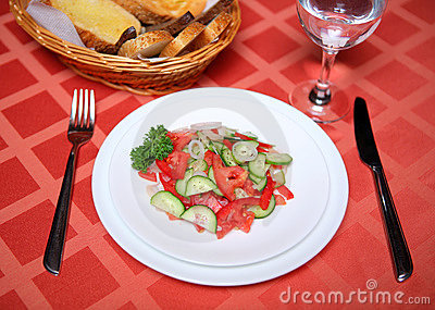 Cucumber tomato appetizing vegetable salad