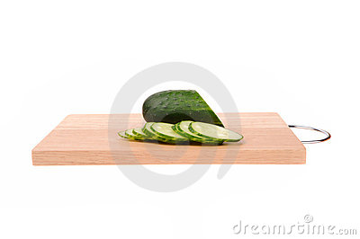 Cucumbers on the cutting board