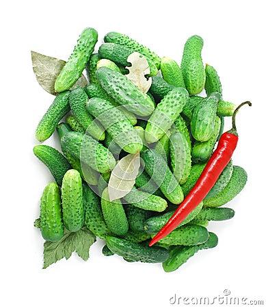 Cucumbers ,pepper,bay leaf and currant leaf
