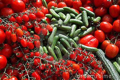 Cucumbers and tomatos - fresh from the market