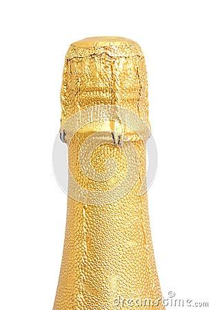 Cuello de la botella del champán