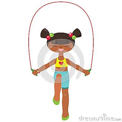 Cuerda de salto de la niña