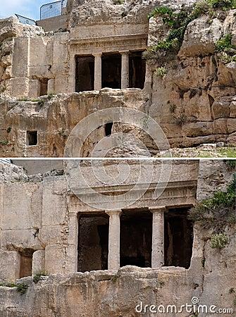 Cueva antigua de la tumba de Benei Hezir en Jerusalén