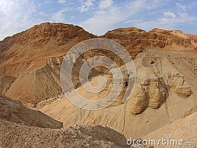 Cuevas del desfile de mar muerto, Qumran, Israel