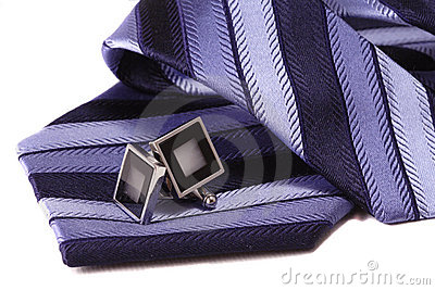 Cuff links and tie