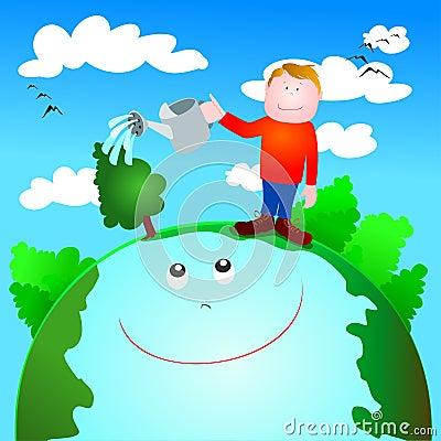 Promovido Por Esa Causa Global A Todo Vectores Medio Ambiente