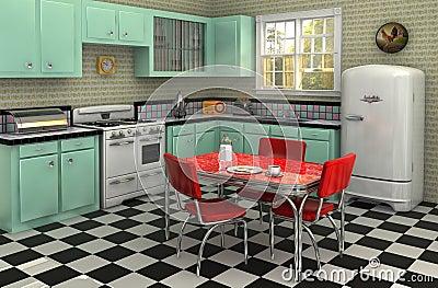 cuisine des ann es 50 photo stock image 19920880. Black Bedroom Furniture Sets. Home Design Ideas