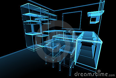 cuisine futuriste moderne bleue image stock image 14258901. Black Bedroom Furniture Sets. Home Design Ideas