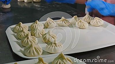 Cuisine nacional georgiana Khinkali Captura de reforço das mãos de chef colocando lixeiras na bandeja Linhas de alimentos crus pr video estoque