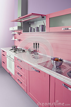 Cuisine rose moderne image libre de droits image 38687096 for Cuisine moderne rose