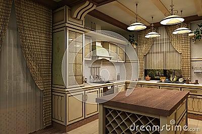 The cuisine vintage style 3-D