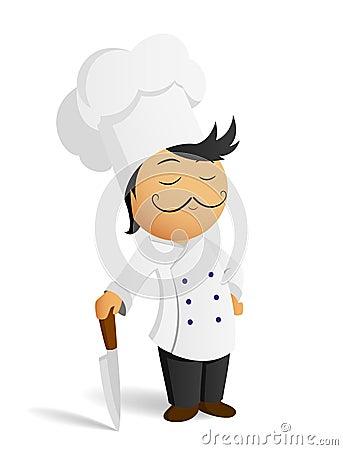Cuisinier de chef de dessin anim dans le chapeau blanc avec le couteau image - Couteau de chef cuisinier ...
