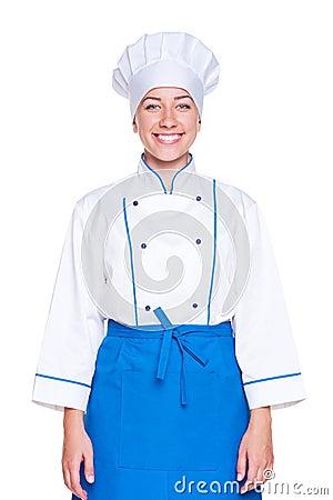 Cuisinier féminin souriant
