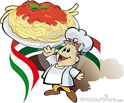 Cuisinier italien de chef avec des spaghetti image stock for Cuisinier xviii