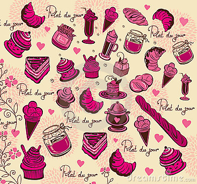 Culinary pattern. Hand drawing