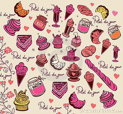 Culinary pattern. Symbols of Paris.