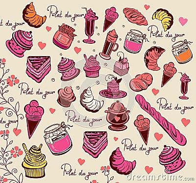 Culinary pattern. Symbols of Paris.