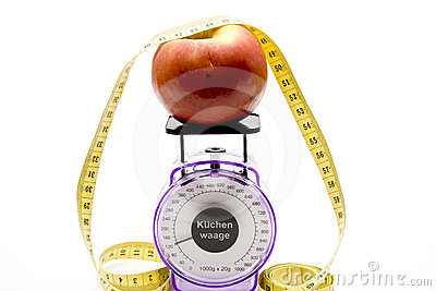 Culinary scales with apple