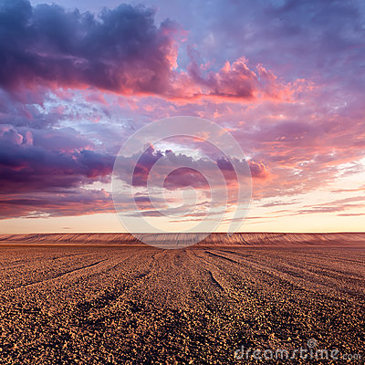 Free Cultivated Land And Cloud Formations At Sunset Stock Photo - 42969680