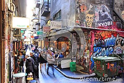 Cultura del carril de Melbourne Imagen de archivo editorial