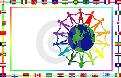 Cultural people with flags