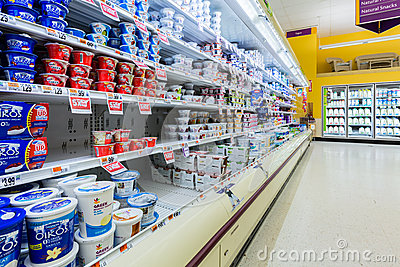 Cultured dairy products aisle in an American supermarket