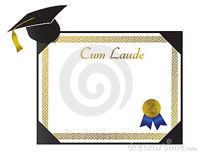 Laude College Diploma with cap and tassel