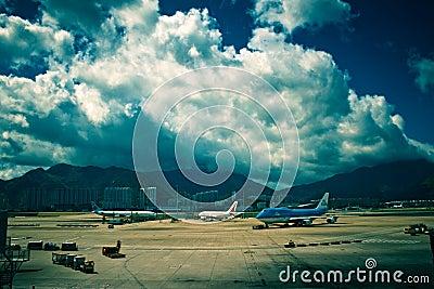 Cumulus above airport