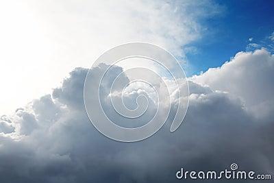 Cumulus clouds and the  blue sky