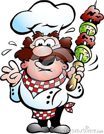 Cuoco unico con uno spiedo del kebab
