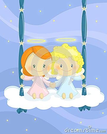 Cuople de ángeles en un oscilación de la nube