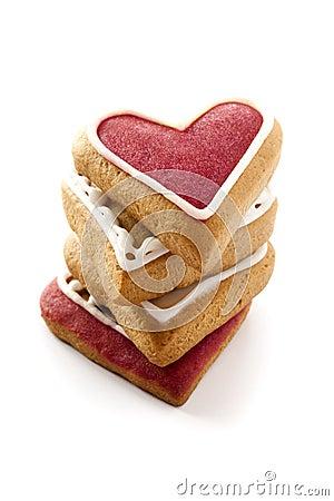 Cuori dello zenzero per il giorno di biglietti di S. Valentino.