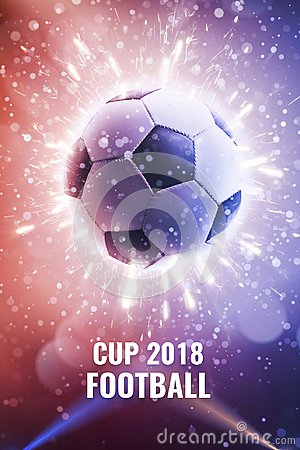 Free Cup 2018. Soccer Ball In Fly. Soccer Background With Fire Sparks In Action On The Black. World Championship Background Soccer Royalty Free Stock Photography - 119445507
