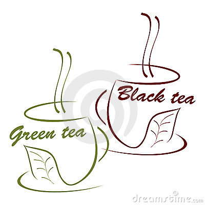 Cup of black and green tea