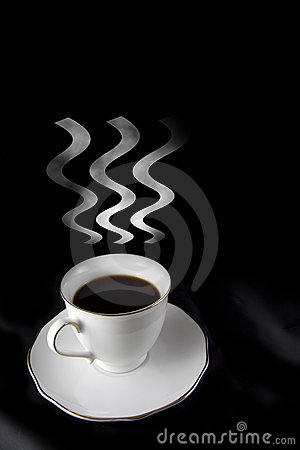 cup of black hot coffee with steam