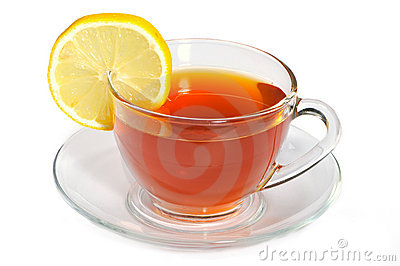 Cup with black tea and lemon