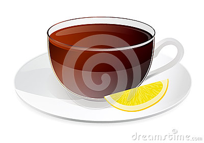 Cup of black tea with lemon