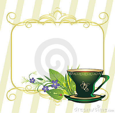 Cup and bouquet of flowers. Composition for card