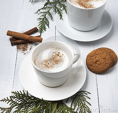Cup of cacao dark hot chocolate winter coffe milk latte cappuchino christmas tree morning cookies Stock Photo