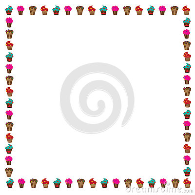 Cup Cake Border Stock Photo Image 51216010