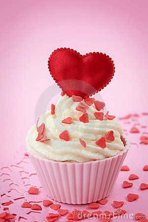 Cup cake with heart shaped decoration