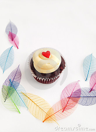 Cup cake with pretty leaves background