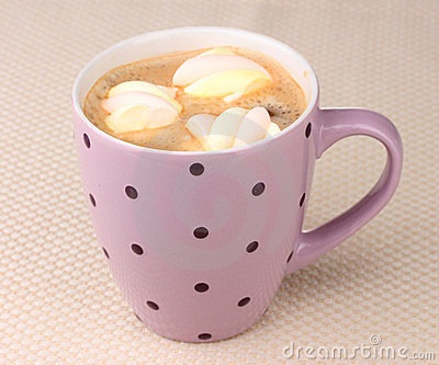 Cup of cappucino with marshmallows