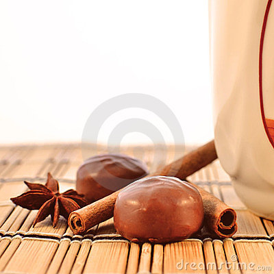 Cup, chocolates and spices