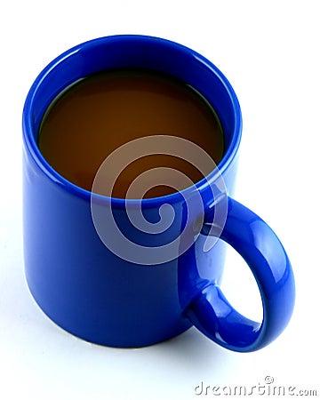 Bright Blue Mug of Hot Coffee